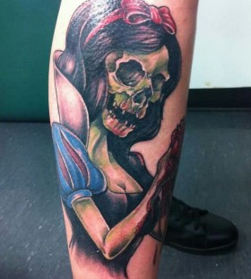 Zombie Snow White leg tattoo