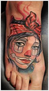 colourful girl clown foot tattoo
