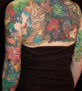 full fairy-tale of Alice in Wonderland tattoo
