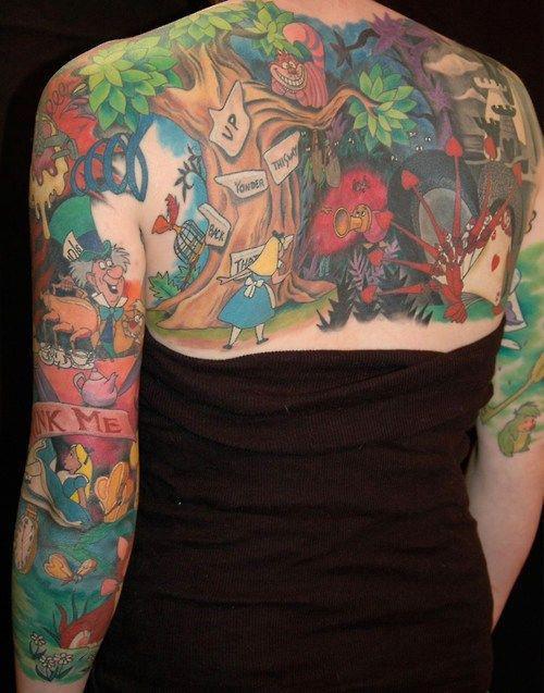 full fairy-tale of Alice in Wonderland tattoo