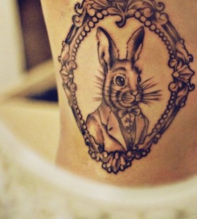 rabbit in the mirror side tatto