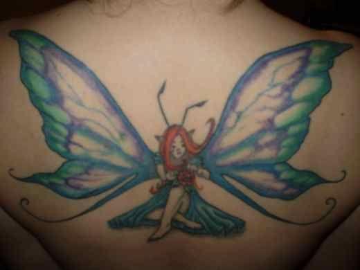 Fairy large nice wings tattoo