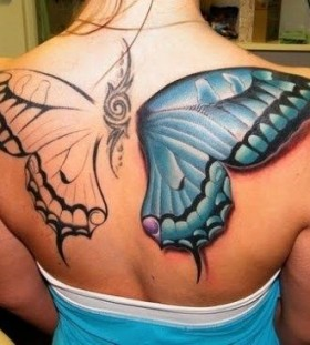 Fairy wing tattoo one side blue