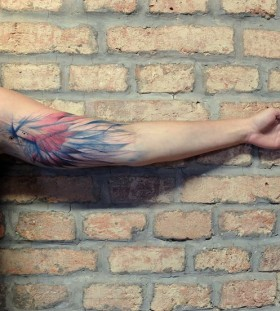 Pretty colorful wings tattoo on arm
