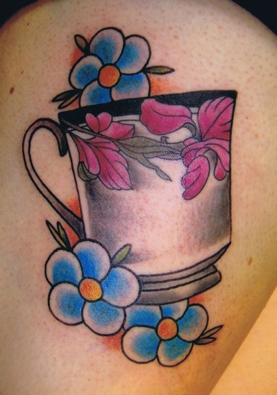 Teacup and flowers tattoo