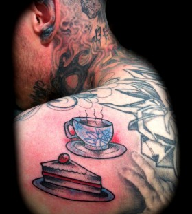 Teacup and pie tattoo