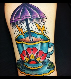 Teacup and umbrella tattoo