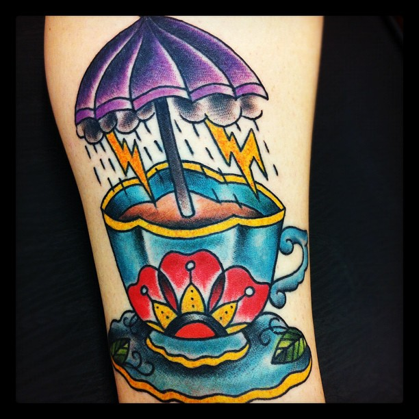 Teacup and umbrella tattoo