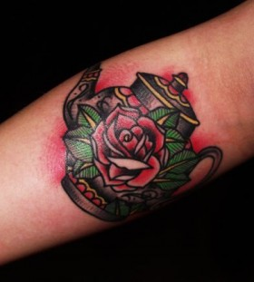 Teapot and rose tattoo