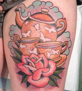 Teapot and rose tattoo by Clare Hampshire