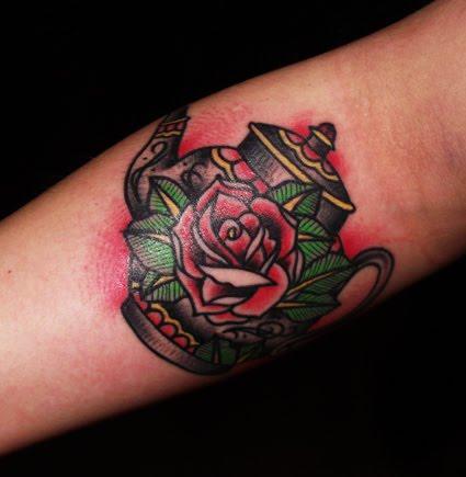 Teapot and rose tattoo