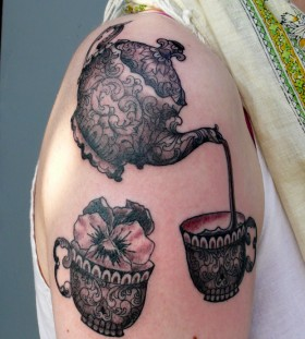 Teapot and teacup arm tattoo