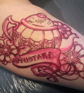 Teapot and writing tattoo