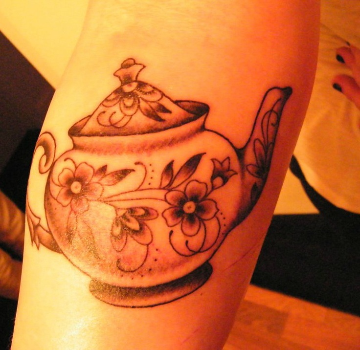 Teapot with flowers tattoo