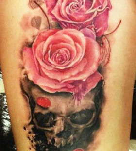 Technical great cute pink rose and skull scary tattoo