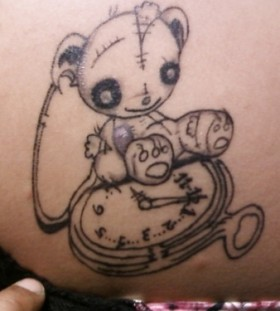Teddy and pocket watch tattoo