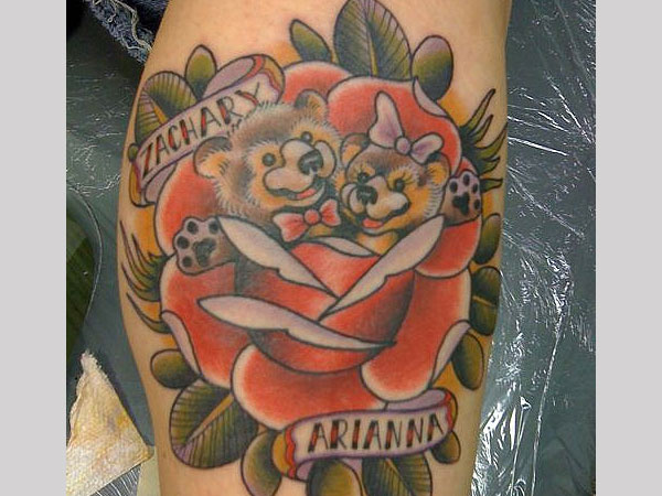 Teddy bear and rose tattoo