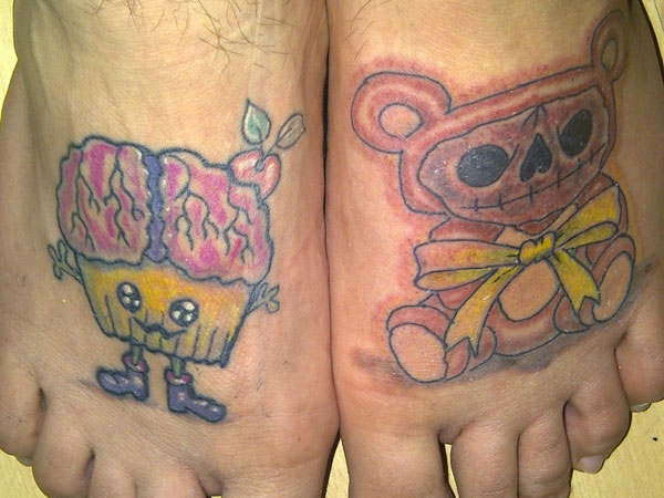 Teddy bear skull tattoo