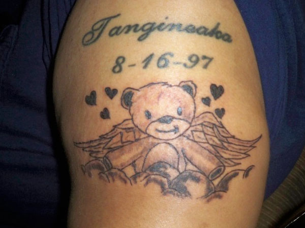 Teddy bear tribute tattoo