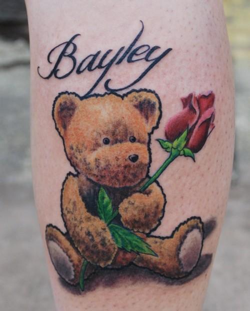 Teddy bear with rose tattoo