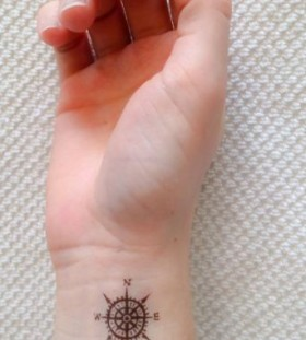 Temporary compass wrist tattoo