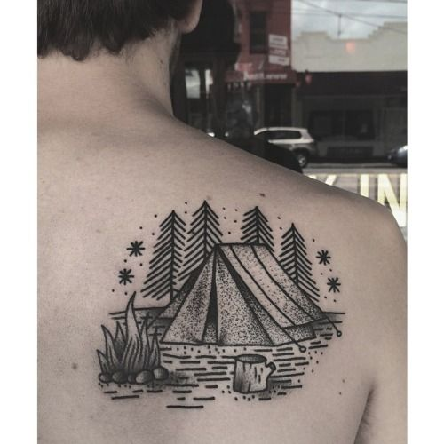 Tent and campfire tattoo by Charley Gerardin
