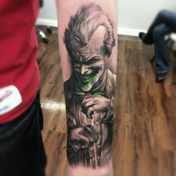 The joker tattoo by Kyle Cotterman