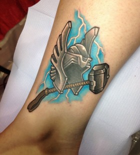Thor theme leg tattoo