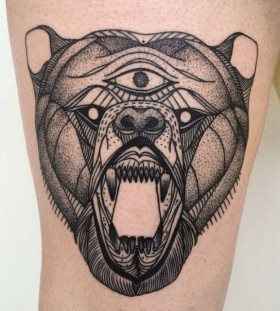 Three eye bear tattoo by Michele Zingales