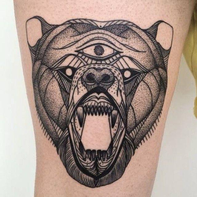 Three eye bear tattoo by Michele Zingales