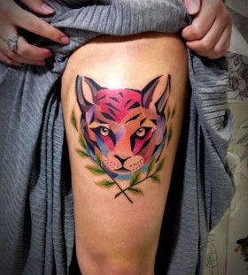 Tiger's relative leg tattoo by Tyago Compiani