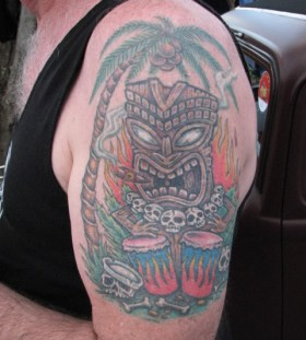 Tiki and bongos tattoo