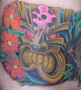 Tiki and skull tattoo