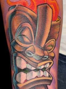 Tiki on fire tattoo