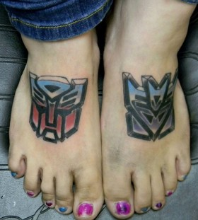 Transformers logo foot tattoos