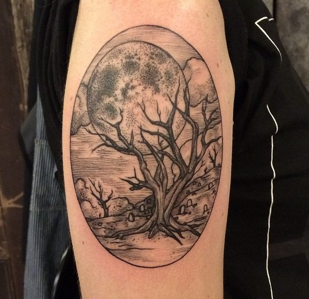 Tree and moon tattoo by Rachel Hauer