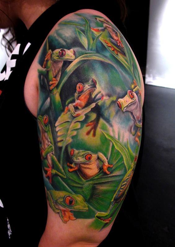 Tree frogs arm tattoo
