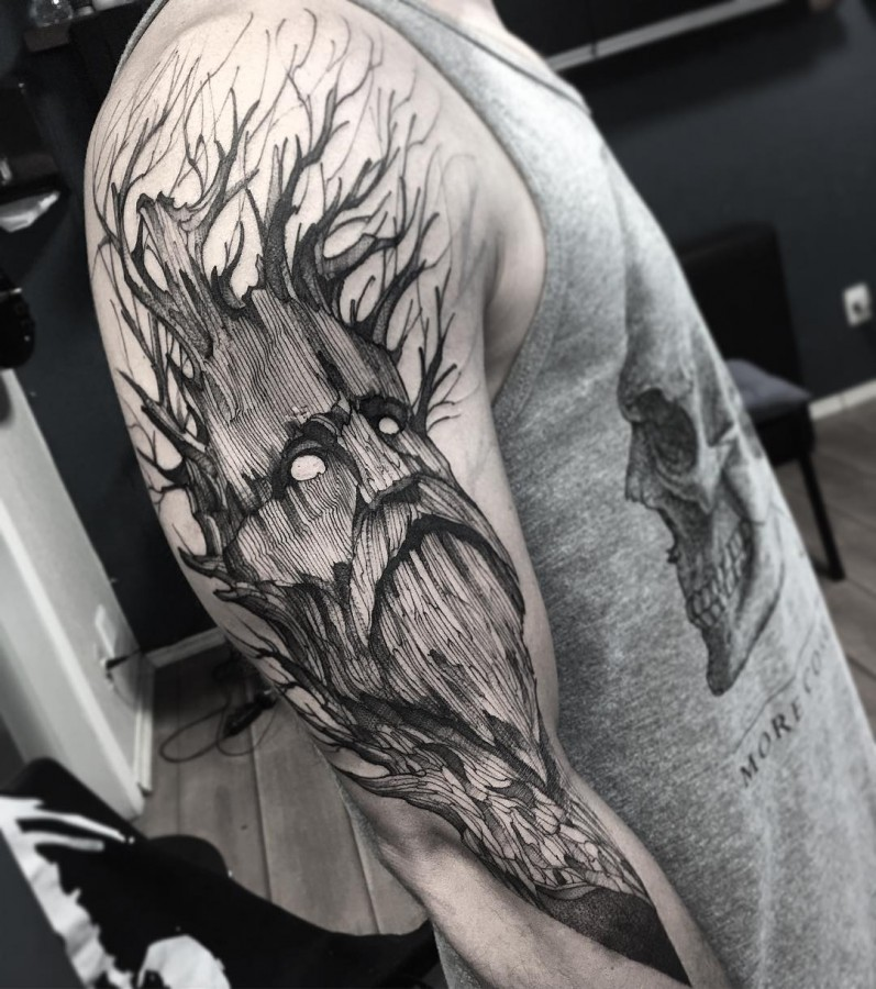 tree man sketch style tattoo by fredao oliveira