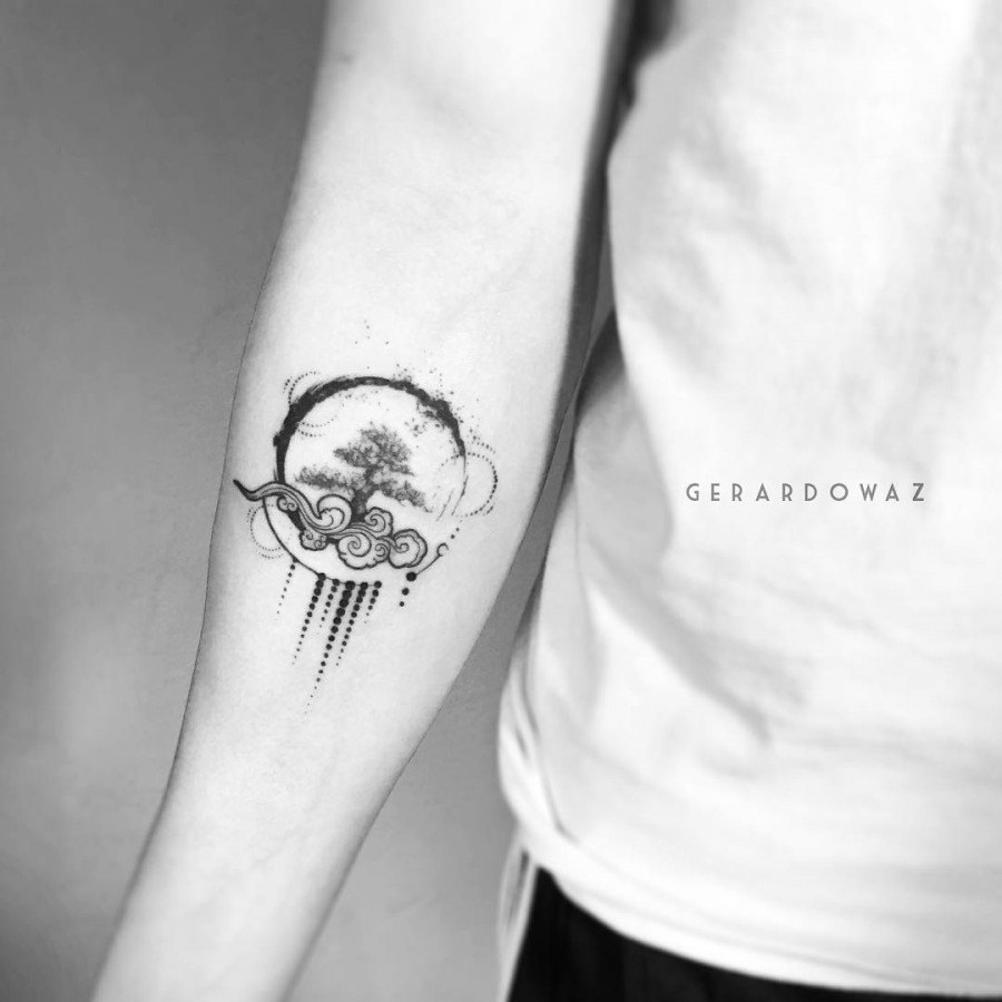 tree of life with air and water elements tattoo by gerardowaz