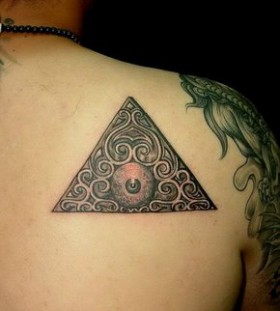 Triangle and eye ball tattoo