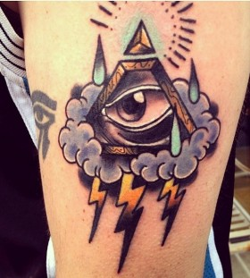 Triangle eye and lightning tattoo