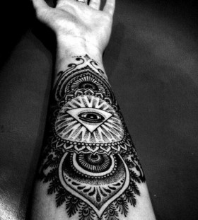Triangle eye arm tattoo