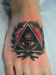 Triangle eye foot tattoo