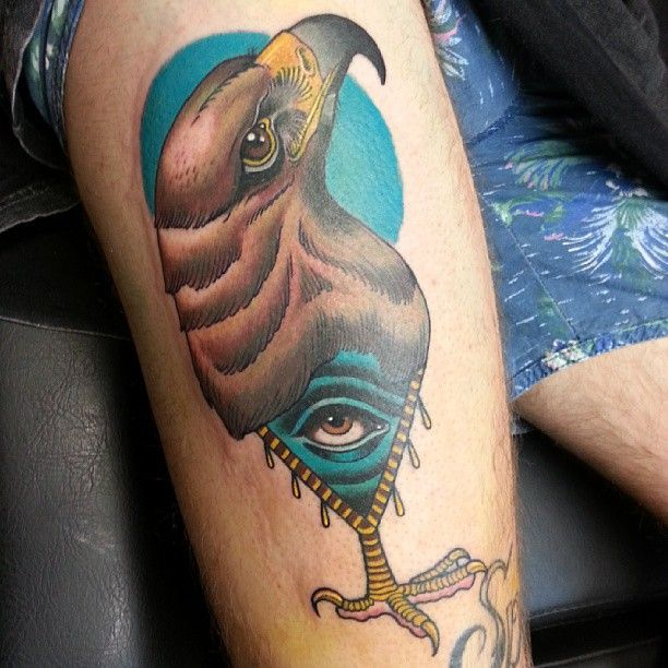 Triangle eye hawk tattoo by Drew Shallis