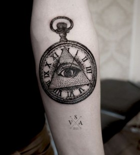 Triangle eye pocket watch tattoo