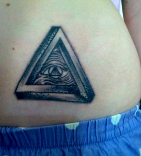 Triangle eye stomach tattoo