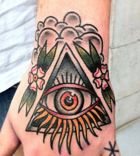 Triangle eye tattoo by Nick Oaks