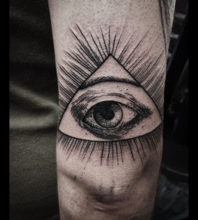 Triangle eye tattoo on arm