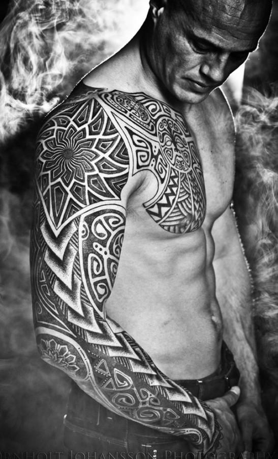 tribal full sleeve tattoo