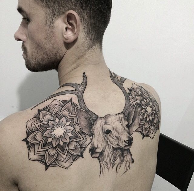 Two headed deer tattoo